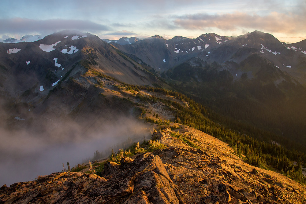 Sunset from a ridge deep within the Olympic Mountains in Washington.