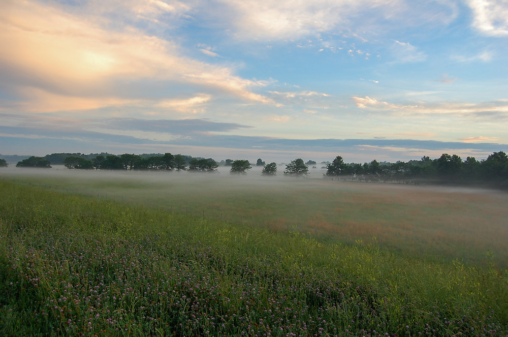 Sunrise in the prairies of eastern Kansas.