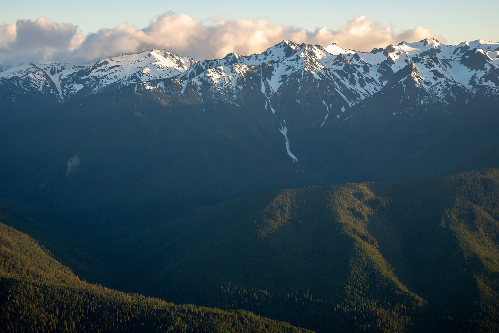 Mountains rising from a deep valley in Olympic National Park in Washington.