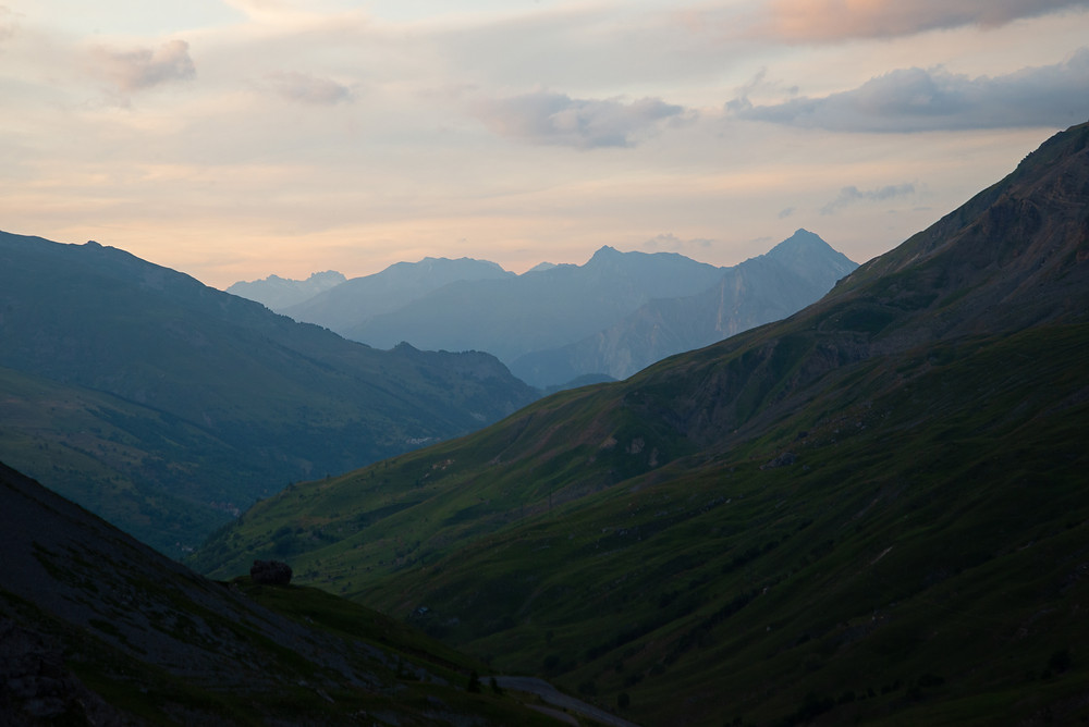 Mountains at sunset in the Alps of France.