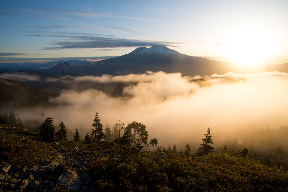 Above the clouds at sunrise looking at Mount Shasta from the Castle Crags Wilderness in northern California.