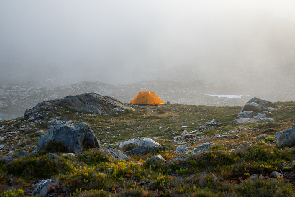 My tent sitting in the fog at Yellow Aster Butte in the Mount Baker Wilderness in Washington.
