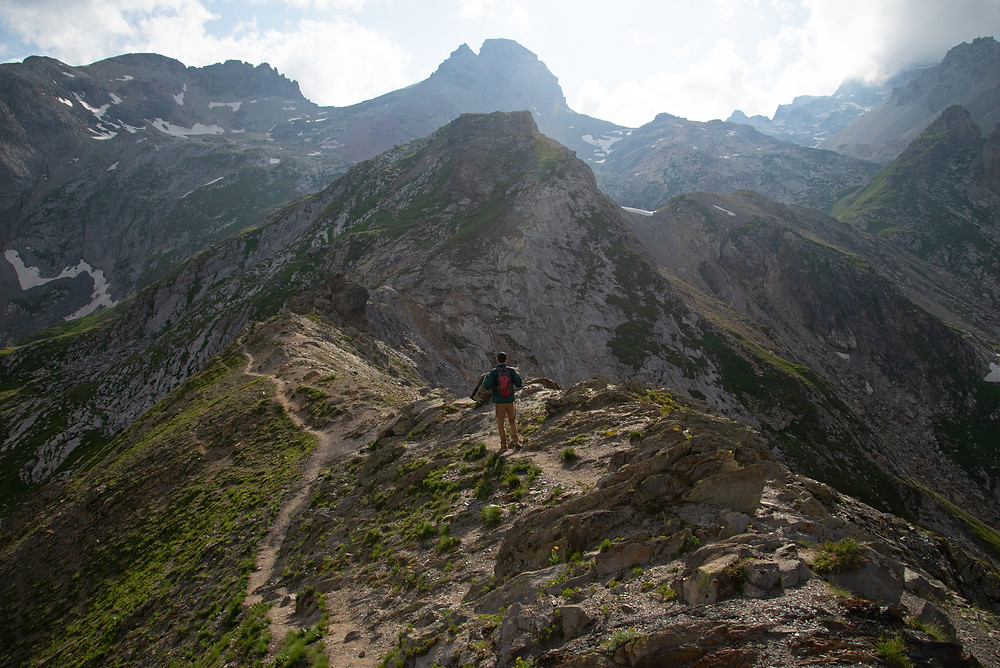 Hiker in the Alps of France.