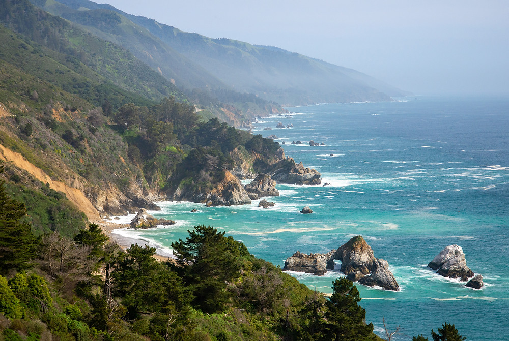 The rugged Big Sur coast on a spring afternoon in California.
