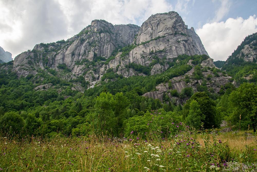 Granite walls in Val di Mello in northern Italy.