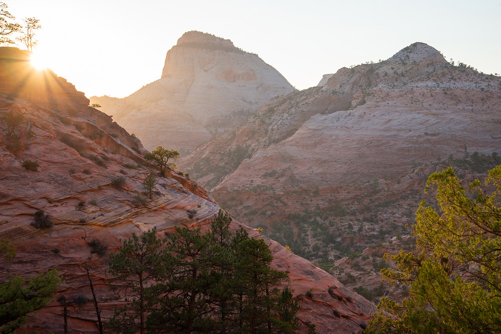 Sunset over red slickrock canyons in Zion National Park in Utah.