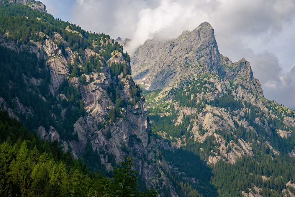 Storm clouds build in Val di Mello in Italy.