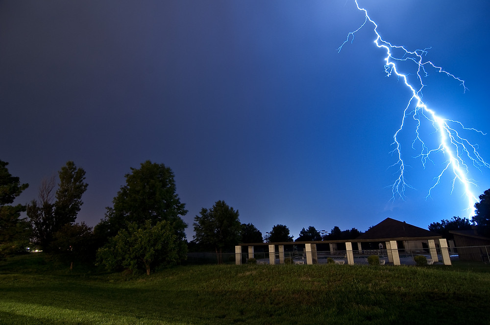 A close bolt of lightning in Kansas.