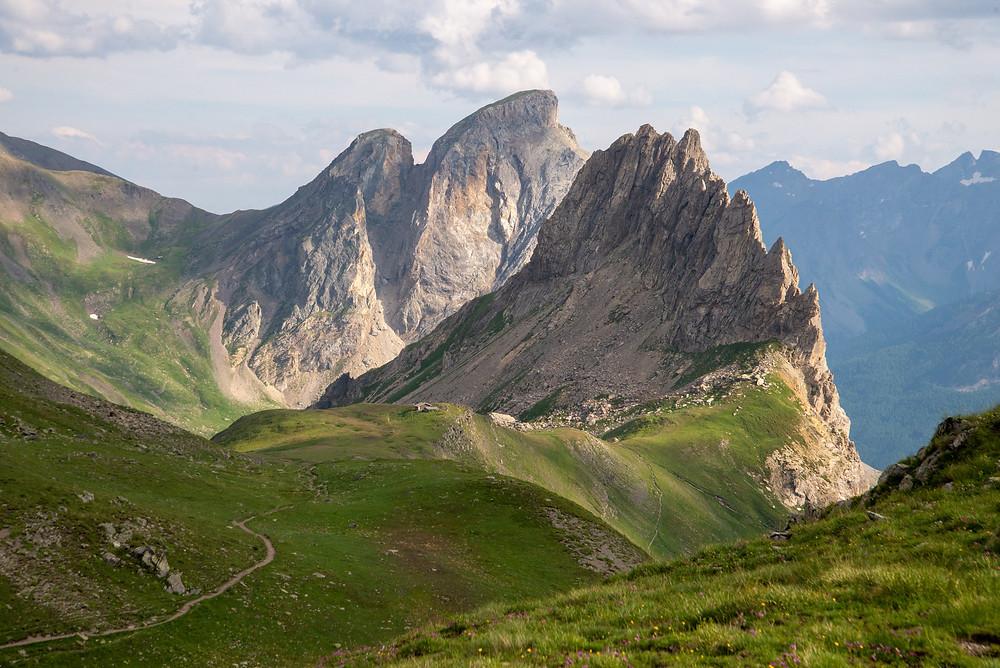 A refuge under big peaks in the Alps of France.