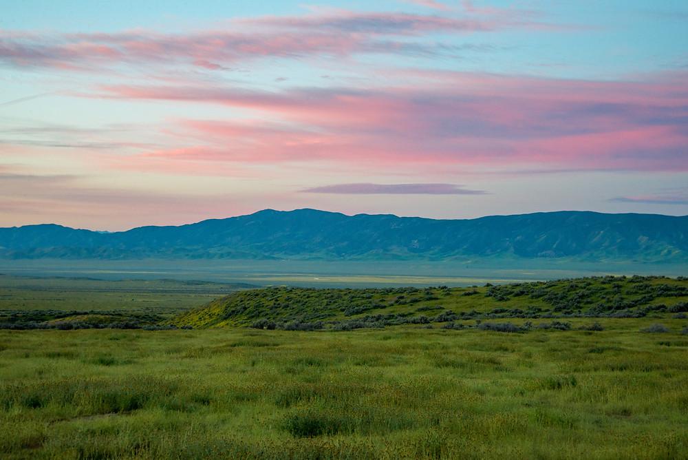 Colorful sunrise in Carrizo Plain National Monument in California.