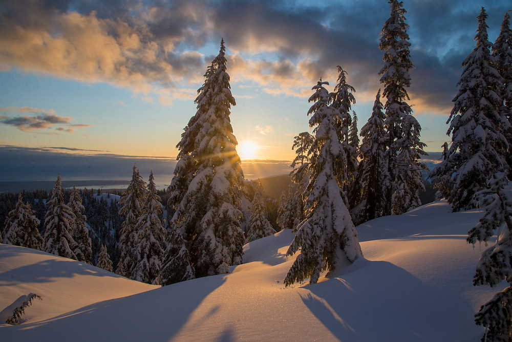 Sunset over snowy forest in Coast Mountains in British Columbia Canada.