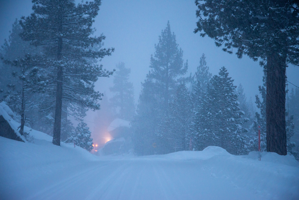 Blizzard conditions persist in June Lake, California during the record breaking winter of 2017.
