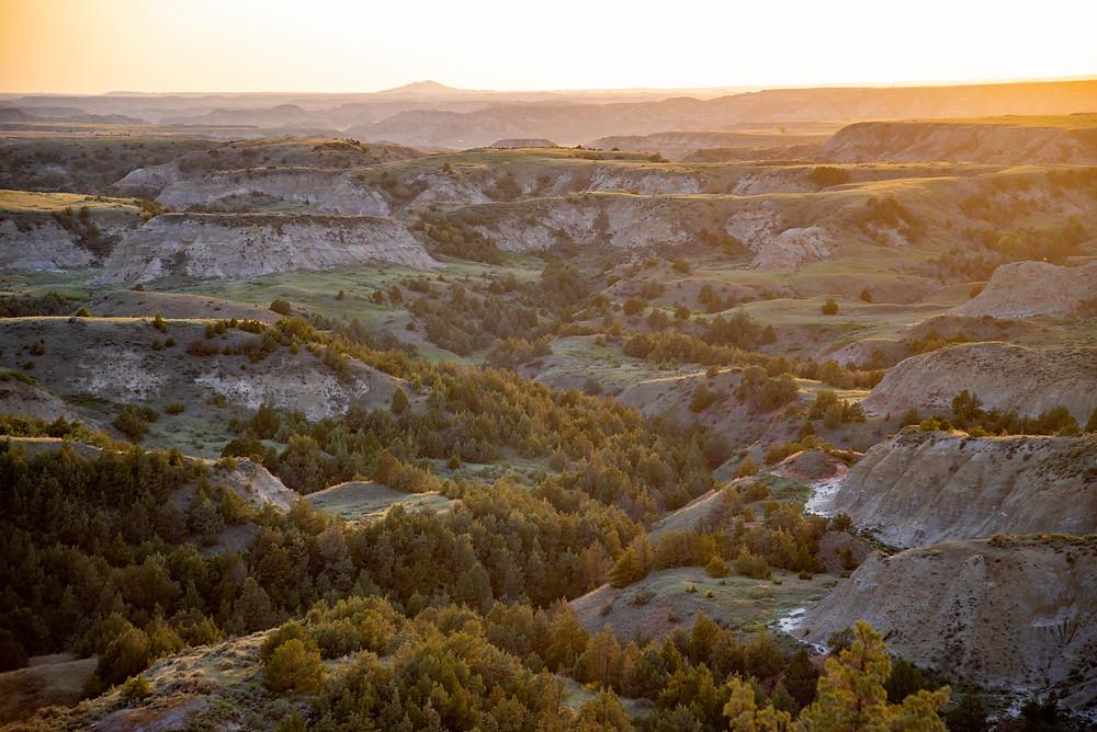Sunset over the badlands of North Dakota.
