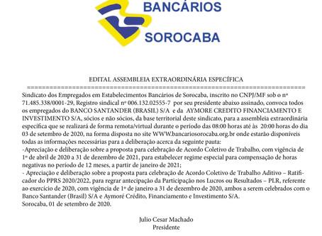 Edital Assembleia Santander