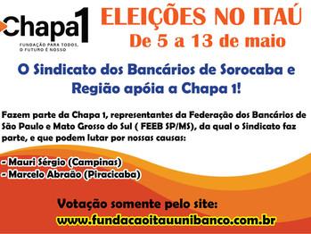 Eleições no Itaú começam amanhã! Sindicato apoia a Chapa 1