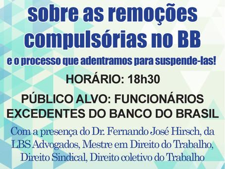 Reunião dia 25/11 sobre remoções compulsórias no Banco do Brasil!