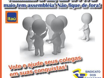 Assembleia Itaú dias 13 e 14 de maio