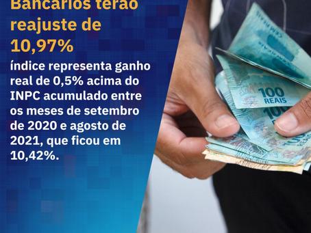Reajuste dos bancários será de 10,97% nos salários, entenda a fórmula