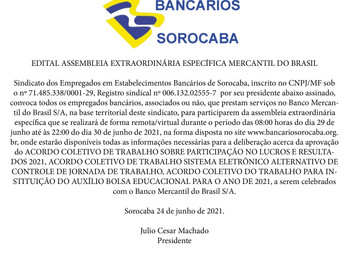 ASSEMBLEIA DIAS 29/06 E 30/06 - BANCO MERCANTIL DO BRASIL