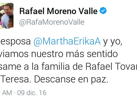 Mata Moreno Valle en Twitter a Rafael Tovar y de Teresa