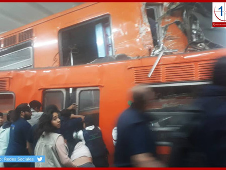 Deja 41 heridos y un muerto choque de trenes en estación Tacubaya