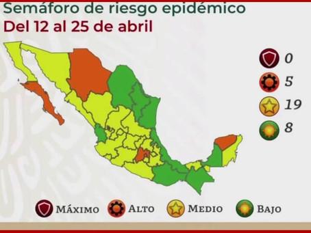 Regresa Puebla al semáforo amarillo por baja en contagios de Covid-19