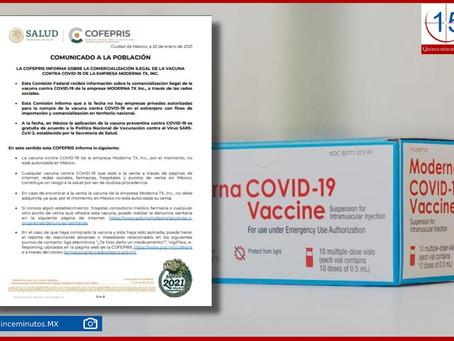 Alerta Cofepris por venta ilegal de la vacuna de Moderna en México