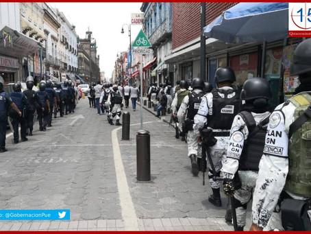 Con Guardia Nacional impiden ambulantes en Puebla