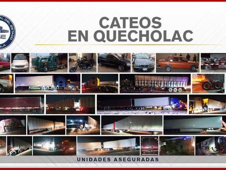 En cateos de Quecholac, FGE encontró unidades robadas y mercancía; hay tres detenidos