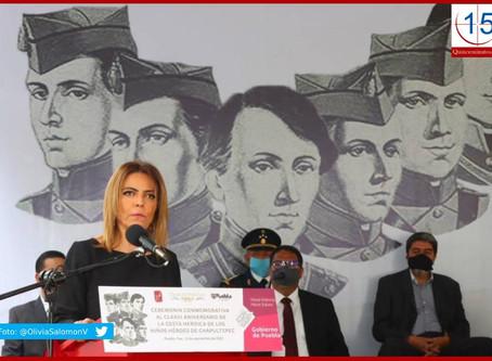 Con mensaje ante la adversidad conmemora Puebla a Niños Héroes