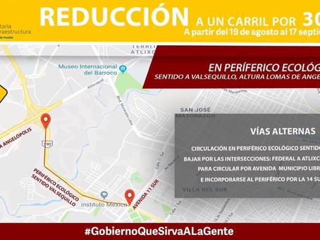 Implementan reducción de carriles en Periférico, entre 11 sur y Angelópolis