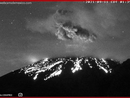 Registra Cenapred explosión del Popocatépetl la madrugada del sábado