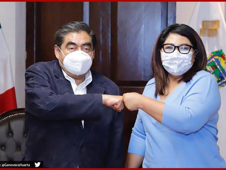 Se reúne Miguel Barbosa con Genoveva Huerta en Casa Aguayo