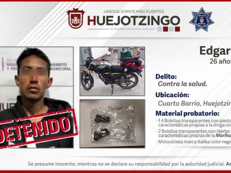 Municipales detienen a narcomenudista en el cuarto barrio de Huejotzingo