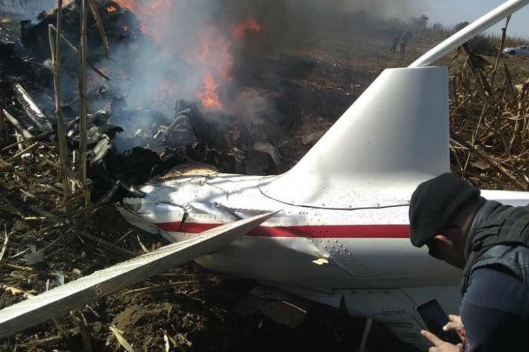 Helióptero Agusta estrellado en Puebla