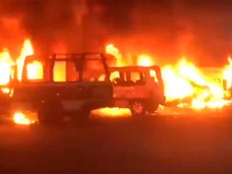 Vándalos queman patrullas y dañan vehículo del DIF en Huaquechula