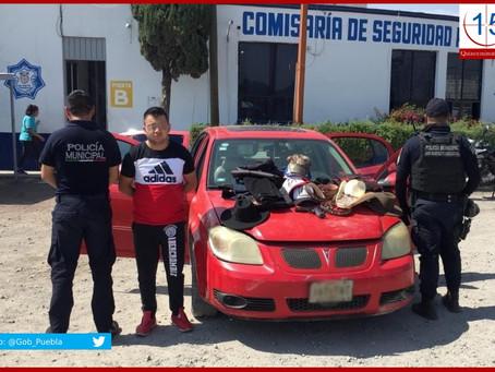 Detienen a presunto asaltante de comercios en Texmelucan