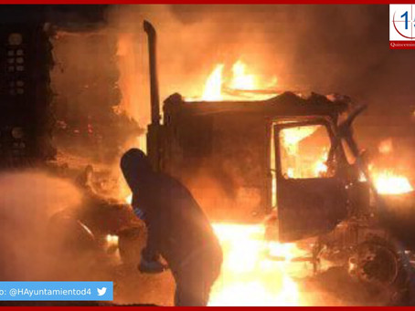 Asaltantes queman tráiler tras enfrentamiento en la Puebla-Orizaba