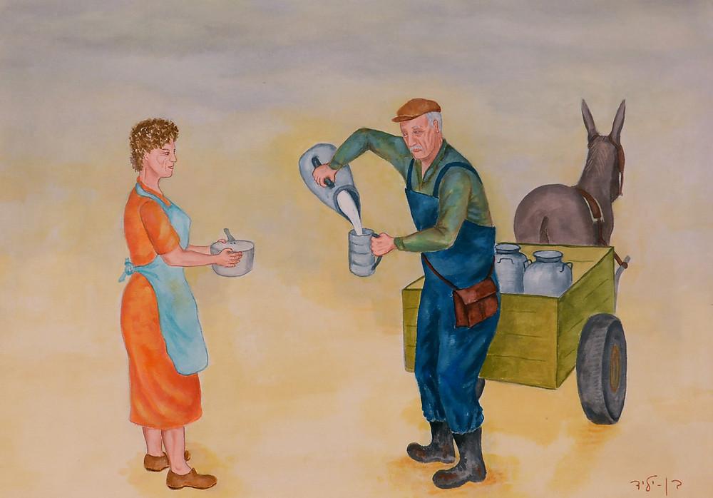 """'מחלק החלב', שייקה בן יליד, שמן על בד. מתוך תערוכת הציורים שלו """"החיים של פעם"""" המוצגת דרך קבע במרכז ללימודי תולדות רעננה."""