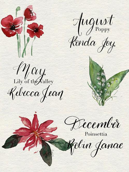 Customized Botanical Birth Print