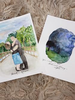 watercolor couple's love