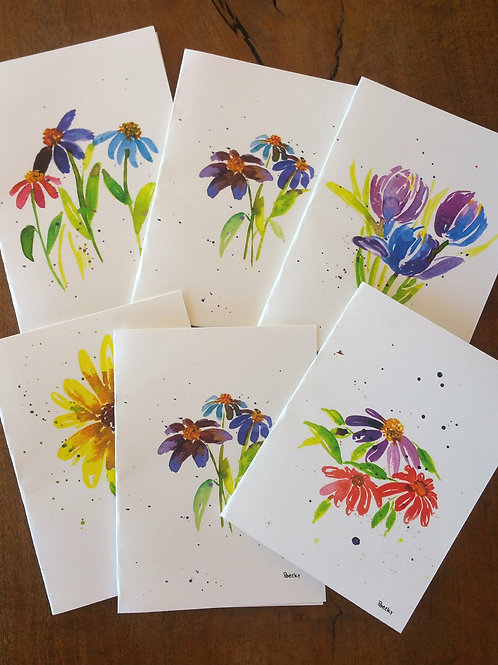Bright floral cards -- 6 count