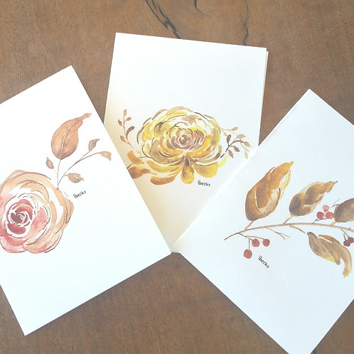 Fall floral cards -- 6 count