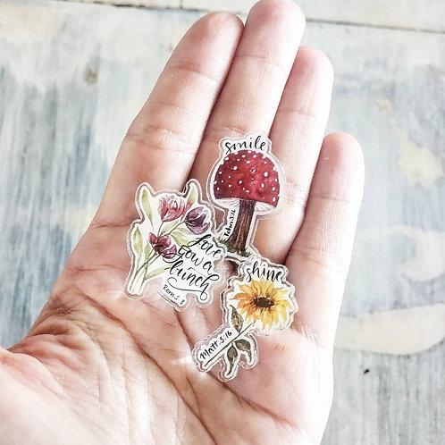 Small acrylic conversation pins (set of 3)