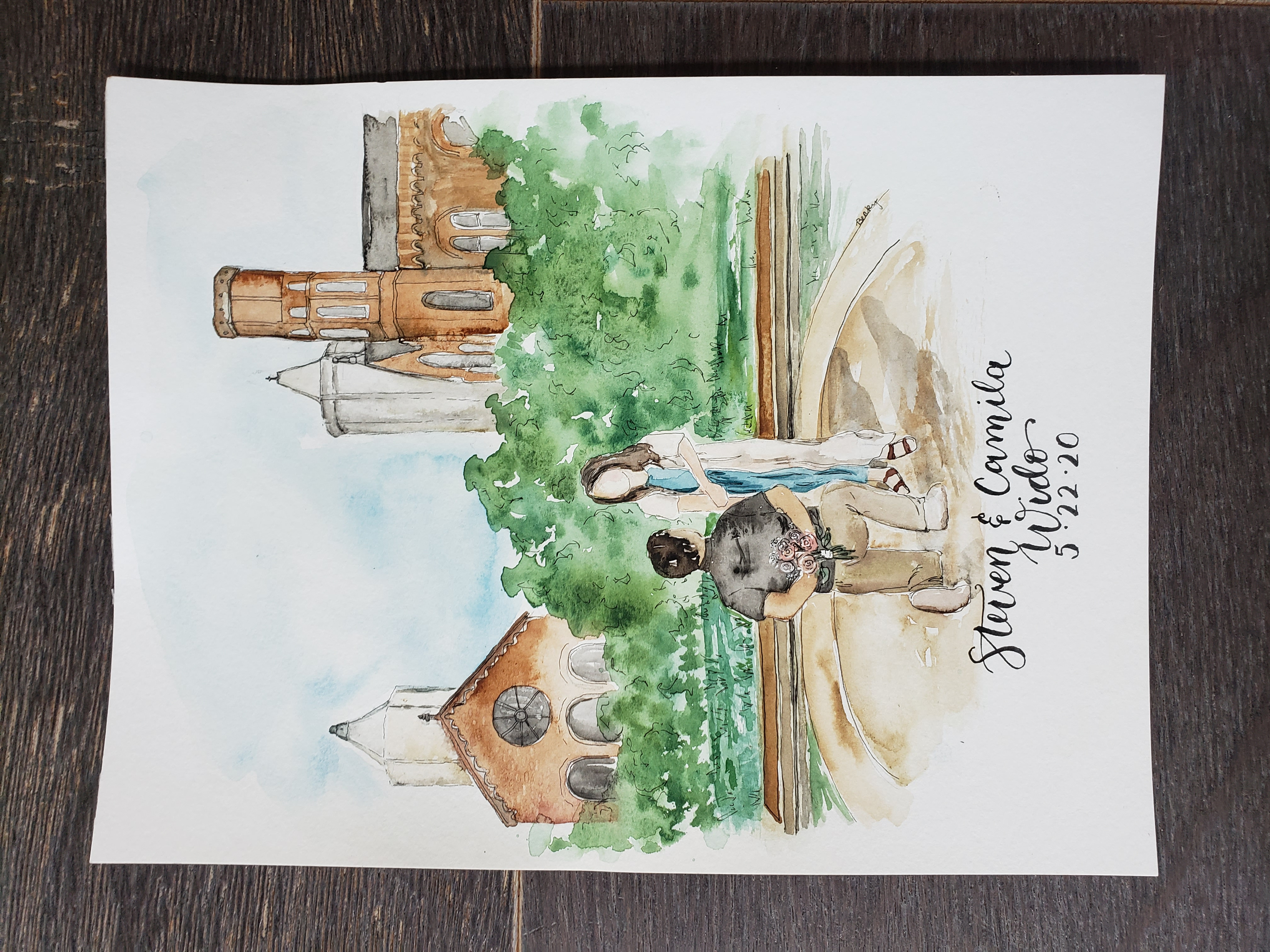 watercolor engagement