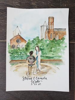 watercolor engagement