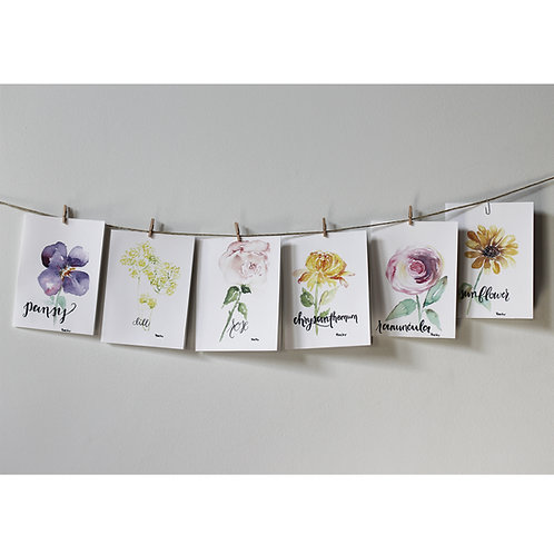 Floral Watercolor Cards - 6 count