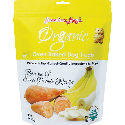 Grandma Lucy's Organic Oven Baked Dog Treats (Banana & Sweet Potato) 14Oz