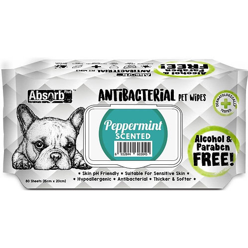 Absorb Plus Antibacterial Pet Wipes 80pcs (Peppermint)