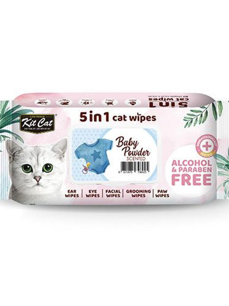 Kit Cat 5 in 1 Cat Wipes 80pcs (Baby Powder)